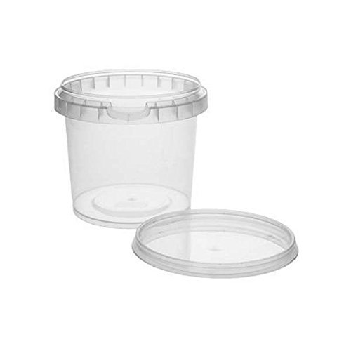mikken 10 x Kunststoffdose Plastikbecher mit Deckel 365 ml, BPA-frei, lebensmittelecht inkl. 1 Schaufel, Kunstoff PP, Transparent, 8,6
