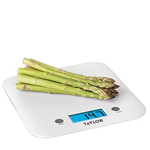 Taylor Balanza de Cocina de Diseño fino, Compacta, Nivel Profesional, Función de Peso con Tara con Alta Precisión, Blanco, 5 kg de Capacidad