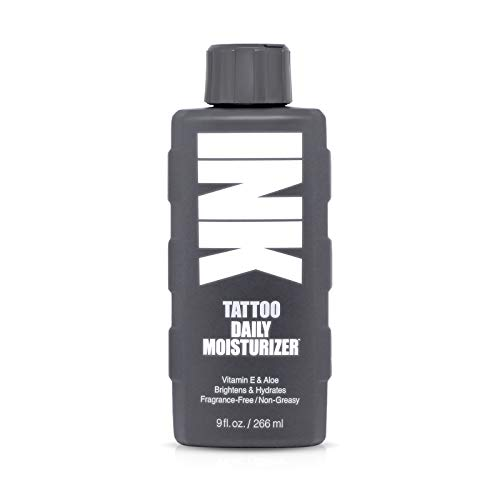INK the original Tattoo Lotion Vegan Daily Moisturizer with Vitamin E and Aloe Brightens Tattoos and Hydrates Skin, Natural and Fragrance Free, Non-Greasy (9oz)