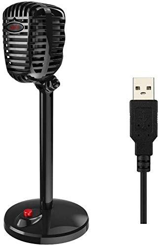 Micrófono USB, condensador de estilo retro, micrófono estéreo con soporte para PC, portátil,...