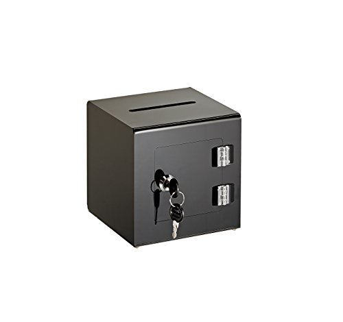 """AdirOffice 6"""" x 6'' Acrylic Ballot Box Donation Box with Easy Open Rear Door - Durable Acrylic Box with Lock - Ideal For Voting, Charity & Suggestion Collection - Black"""