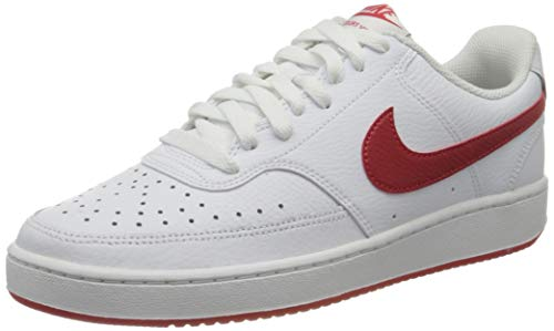 Nike Mens Court Vision LO Basketball Shoe, White/University RED,42 EU