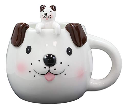 Ebros Adorable Whimsical Animal White Dog With Brown Ears Ceramic Coffee Cappuccino Latte Tea Ice Cream Mug Drink Cup With Pet Pal Peeking Puppy Latch On Spoon Set 16oz Animals Home And Kitchen Decor