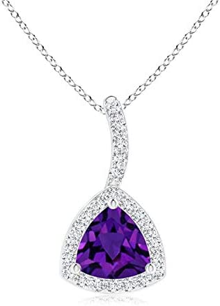 Ranking TOP20 2021 model Trillion Amethyst Halo Pendant 5mm with Curved Bale
