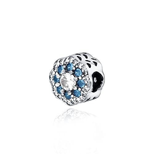 LIIHVYI Pandora Charms para Mujeres Cuentas Plata De Ley 925 Regalo De Joyería De Flor Azul Brillante Compatible con Pulseras Europeos Collars
