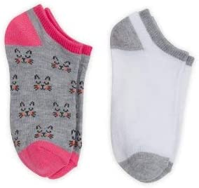 Wonder Nation Girl's No Show 2 pair, 2 bundle, Gray Cat with Pink - White with Gray Socks, L/G 4-10