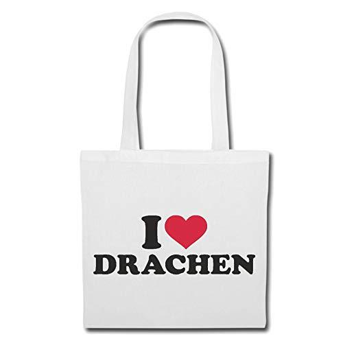 Tasche Umhängetasche I Love Drachen - FLUGDRACHEN - FEUERSPUCKER - Dragon - Drache Einkaufstasche Schulbeutel Turnbeutel in Weiß
