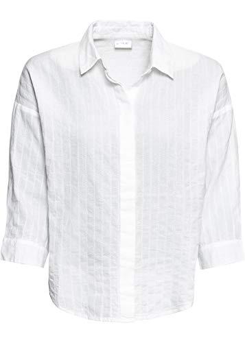 bonprix Oversize- Bluse mit Knopfleiste und 3/4-Arm weiß 48 für Damen