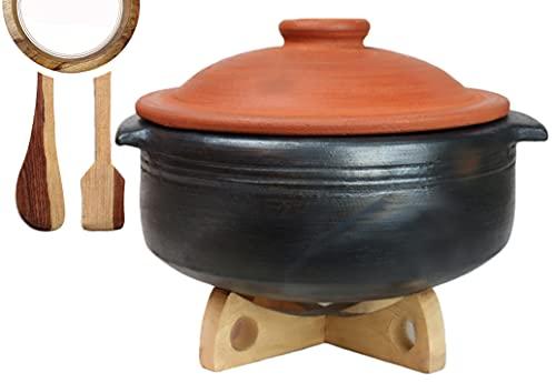 Craftsman India Online Clay Handi, 2L (Black)