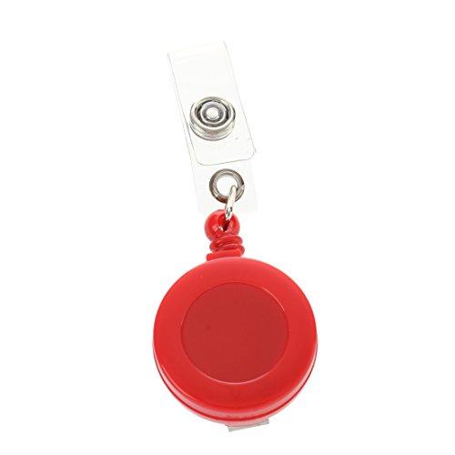 Kaxofang Clip de Cinturon Llavero Cadena de Traccion Retractil para Tarjeta ID - Rojo