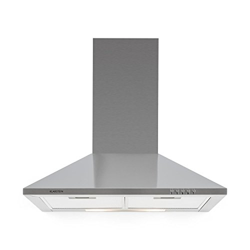 Klarstein TR60WS Campana extractora - Campana de pared, Aire de escape circulante, Iluminación, Ancho: 60 cm, 3 escalas, Capacidad: 310 m³/h, 2 filtros de grasa, Acero inoxidable, Plateado