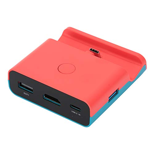1080P HDMI Video Converter Small,XDL-NS06 Portable Charging Dock Stand Video Converter for Switch/Lite Game Machine Charging Base(Blue Red)(Rojo y Azul)