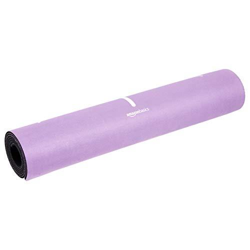 AmazonBasics - Esterilla de yoga de goma y ante, morado, 0,50 cm