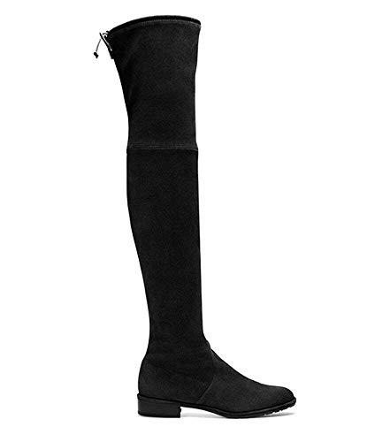 Luckyw Otoño Europa América Popular Ms Stretch Boots Negro Botas sobre La Rodilla Cómodas Botas Planas Invierno De Gran Tamaño,Negro,45