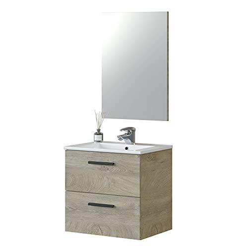 Mueble de Baño con 2 Cajones y Espejo, Modulo Lavabo, Modelo Aruba, Acabado en Roble Alaska, Medidas: 60 cm (Ancho) x 57 cm (Alto) x 45 cm (Fondo)