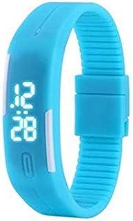 Blue Unisex Silicone LED Digital Creative Touch Screen Sport Watch Bracelet