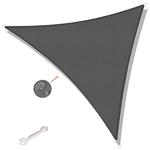 SUNNY GUARD Voile d'ombrage Triangulaire 3.6x3.6x3.6m Imperméable Anti UV pour Jardin Terrasse Balcon, Anthracite