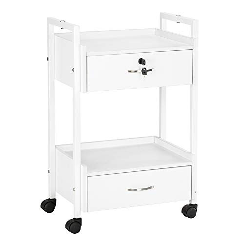 Mefeir Salon Trolley Cart for Beauty SPA, Wooden Rolling Storage Station, White Mobile Utility Cabinet with 2 Drawers 1 Lockable, Medical Esthetic Supply Holder for Massage Tattoo Facials