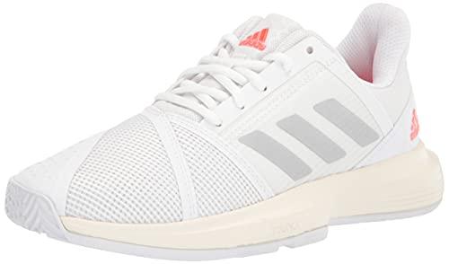 adidas Women's Courtjam Bounce Tennis Shoe, White/Silver Metallic/Solar Red, 9.5