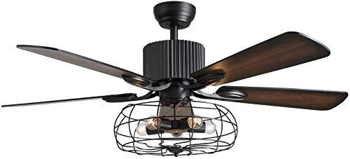 SILJOY 52 Zoll Reverse Deckenventilator mit Lichtern und Fernbedienung, Industrie schwarz Caged 5 Holz Blätter Kronleuchter Fan für Schlafzimmer Esszimmer