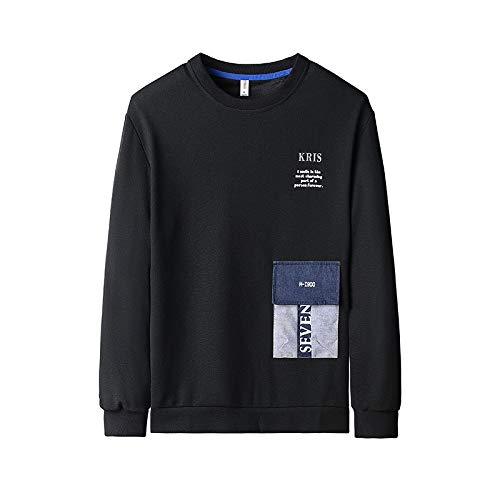 contrast sweater pullover pocket color three-dimensional boys all-match Sweater loose hip-hop sports printing sweater Black