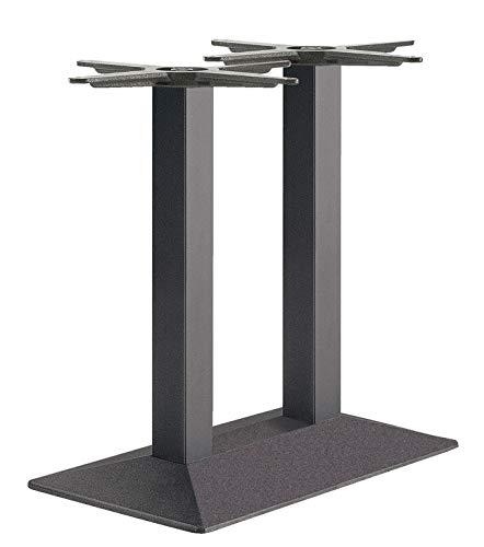 Gedotec Säulen-Tischgestell schwarz Tischfuß eckig Möbelfuß höhen-verstellbar Tischbein Vintage - ZES 705 | Höhe 705 mm | Tisch-Gestell mit verstellbaren Bodengleiter | 1 Stück - Füße für Esstische