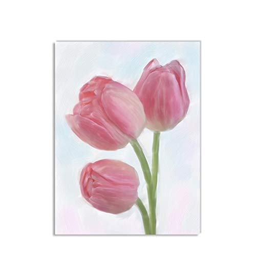 ZRRTTG Lienzo Y Arte De Pared PóSter 23.6'x35.4'(60x90cm) Estilo Tulip Flower T3 Pintura Pared Y Estampados Cuadros Sin Marco