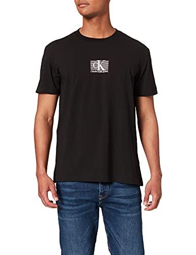 Calvin Klein Jeans Small Box Stripe tee Camiseta, CK Negro, L para Hombre