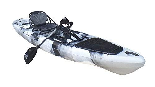 BKC PK13 Angler 13' Solo Sit-On-Top Fishing Kayak, w/Instant Reverse Pedal Drive, Rudder System, Paddle, and Upright Aluminum Frame Backrest Support Seat (Grey Camo)