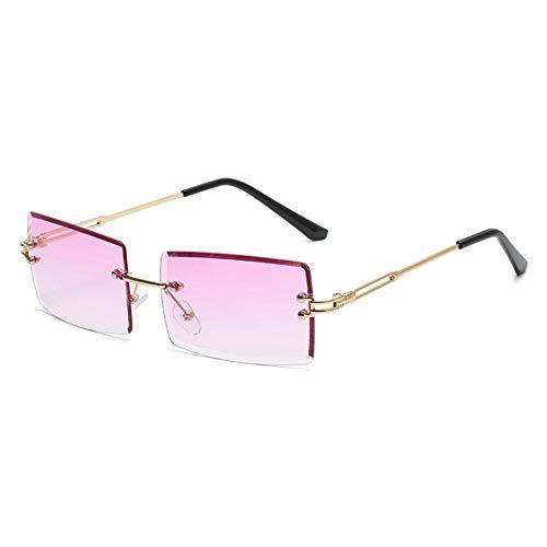 XCSM Gafas de Sol sin Montura rectangulares Vintage para Mujeres y Hombres, pequeñas, Retro, sin Marco, Lentes Transparentes tintadas, Gafas cuadradas, Gafas de Moda UV400
