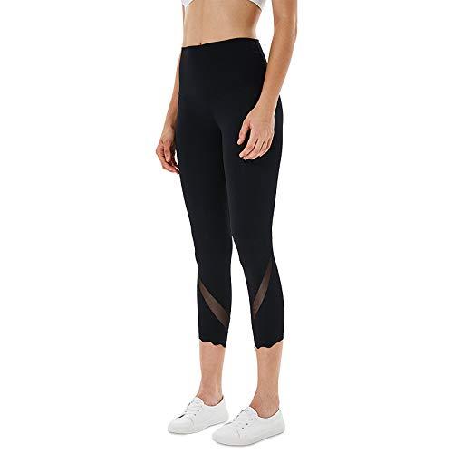 CMZ Frühjahr und Sommer doppelseitige Nylon Slim Beam Hose einfarbige Yogahosen Netzgarn Yogahosen (schwarz)