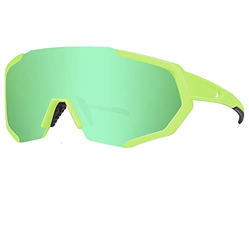 FRS Gafas de Ciclismo, Myopia polarizada de 3 Lentes Marco Verde Masculino y Femenino para Adultos Deportes al Aire Libre a Prueba de Viento Gafas de Bicicleta 100% UV e Green-A