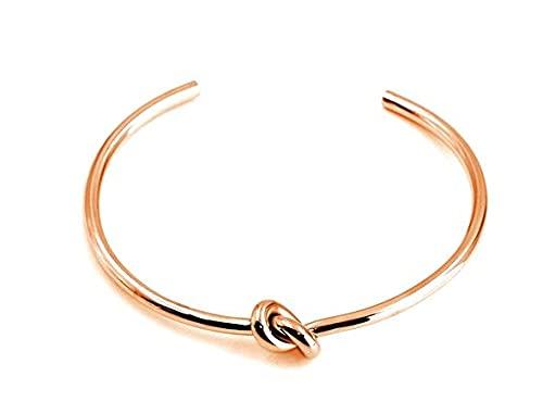 Ohana - Pulsera rígida para mujer con nudo chapado en oro de 18 quilates, Acero inoxidable,
