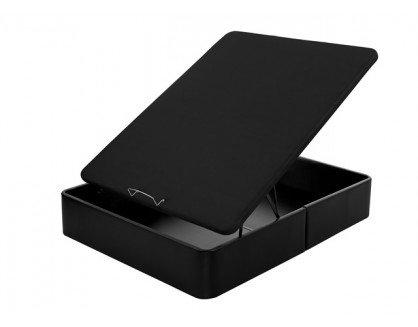 Flex - Canapé Abatible Gran Capacidad Tapizado Polipiel Tapa 3D - 150X190, Color Negro