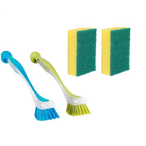 Runfun Limpieza del depurador del Cepillo para Lavar la vajilla de Cocina Exfoliante Esponja 2 friega el Cepillo para el Plato 2 Esponja 4PCS Decoración del jardín