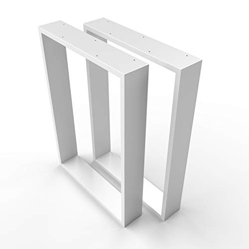 sossai® Desgin XXL - Mesa Estructura Acero | TKK3 | 2 Piezas | patas de mesa | carga pesada | Ancho 70 cm x Altura 72 cm | Color: Blanco