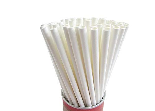 Go Green 250 weiße Papier-Trinkhalme, 6 mm kürzere Einweg-Trinkhalme, natürlich, umweltfreundlich, biologisch abbaubar, Partydekoration