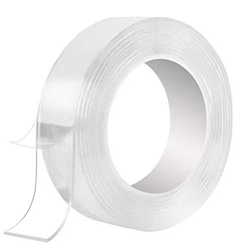 両面テープ EXTSUD 無痕マジックテープ 多機能 ナノテープ 超粘着テープ 透明 のり残らず はがせるテープ 防水 滑り止めテープ 水洗でき 繰り返し使用可能 2mm*3cm*5m