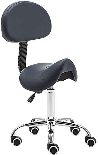 Barhocker Sattel Rollbarer Drehhocker Stuhl mit Rückenlehne Hydraulischer Gaslift Ergonomische Höhe verstellbar, 5 Rollen für Office Home Salon Spa Studio, C (Farbe: B) (Farbe: E)
