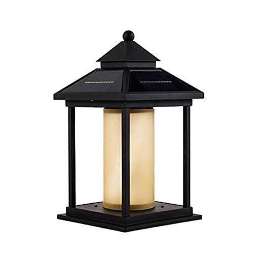 Threesome Poste de luz Solar para Exteriores, para decoración de Vallas, terrazas o Patios, Impermeables, construcción de Aluminio Fundido,Yellow lampshade,Small