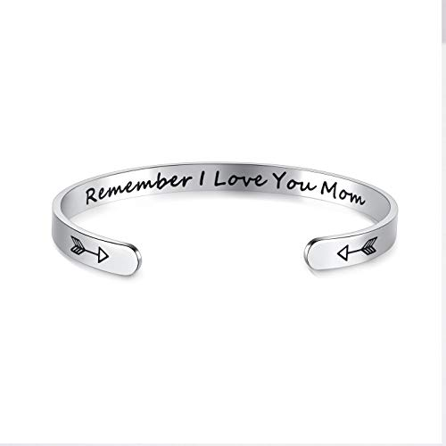 Jovivi Silver Mum Cuff Bracelet for Women Jewellery Gifts,Remember I Love You MOM Bangle for Mother Day Birthday Mum Gift from Daughter Son