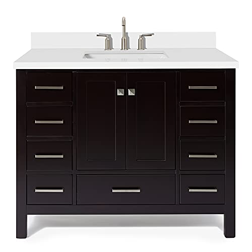 """ARIEL 43"""" Inch Espresso Bathroom Vanity with Pure White Quartz Countertop   Rectangle Sink   2 Soft Closing Doors and 9 Full Extension Dovetail Drawers   No Mirror"""
