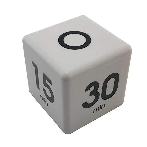 su-xuri Temporizador Digital De Cubos Reloj De Mesa Blanco Despertador Led Opcional 60 Min 30 Minutos 15 Minutos 5 Minutos para Yoga Siesta Estudiar Oficina Cocina Estudiante Adulto