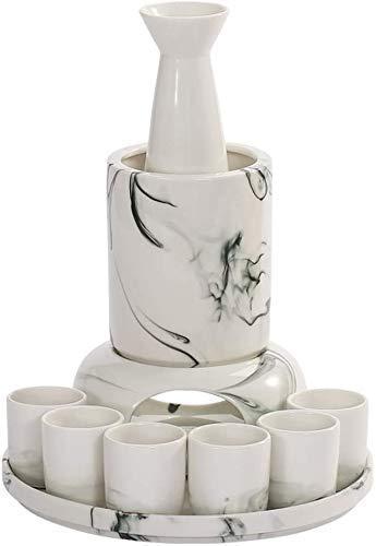 WWXL Juego de Sake, Juego de Sake de 10 Piezas, Juego de Copas de Vino de cerámica Blanca clásica con Estufa de Vela y Calentamiento, para Servicio de Sake Caliente/frío