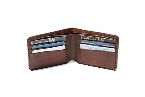 Hecho a mano de cuero genuino tarjeta caso cartera auténtico mujeres hombres accesorio elegante diseño regalo - ES-9030