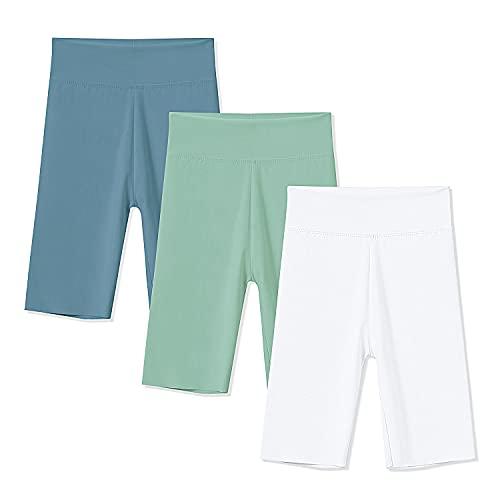 Bibalabili Girls Stretch Shorts Kids Tight Yoga Pants with Elastic Waist Band, 3 Pack (White-Green-Blue, 5-6T, 5_Years)