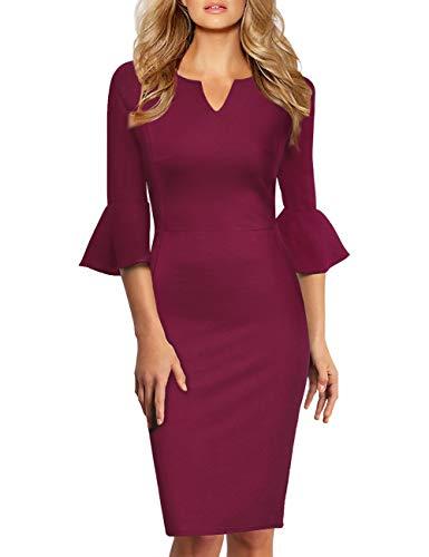 KOJOOIN Damen Etuikleid Business Kleider Bodycon Cocktailkleid Bleistiftkleid Geschäft Figurbetonte Knielang Kleider Langram Wein Rot M
