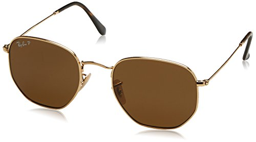 RAY-BAN RB3548N Hexagonal Flat Lenses Sunglasses, Gold/Polarized Crystal Brown, 54 mm