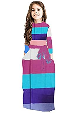 Miss Bei Girl's Summer Short Sleeve Stripe Holiday Dress Maxi Dress with Pocket Size 0-11T£¬Long Sleeve has Arrived 3-16T Long Sleeve strpie purple150
