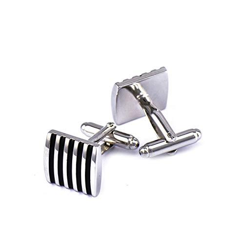Sozoz Engraved Cufflinks for Men,Stainless Steel Rectangular Stripe Silver Black Cuff Lins
